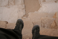Craig's feet at the great Pyramids, Giza, Egypt
